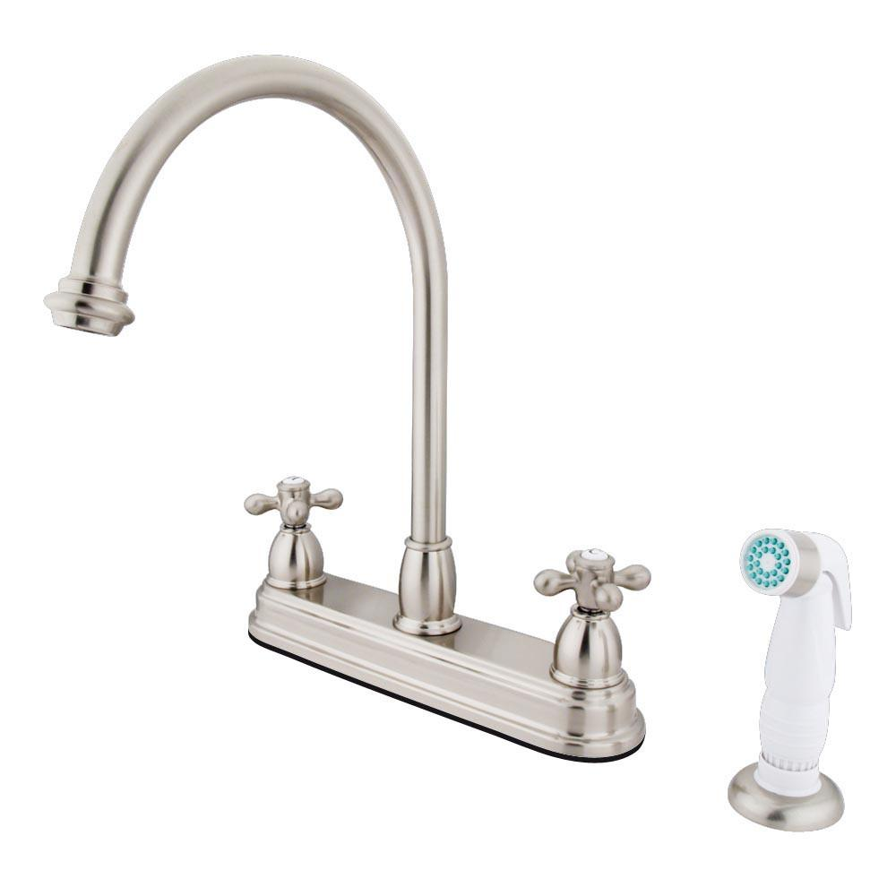 "Kingston Brass Satin Nickel Two Handle 8"" Kitchen Faucet with Sprayer KB3758AX"