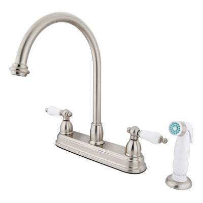 "Kingston Brass Satin Nickel Two Handle 8"" Kitchen Faucet with Sprayer KB3758PL"