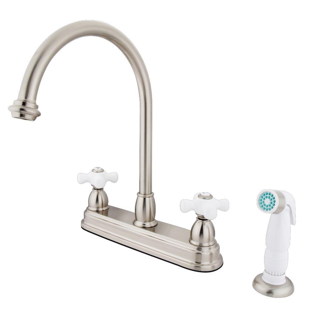 "Kingston Satin Nickel Two Handle 8"" Kitchen Faucet with White Sprayer KB3758PX"