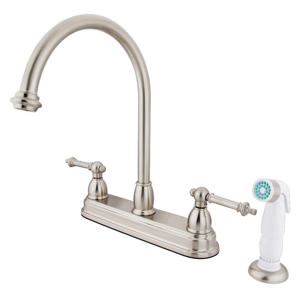"Kingston Satin Nickel Two Handle 8"" Kitchen Faucet With White Sprayer KB3758TL"