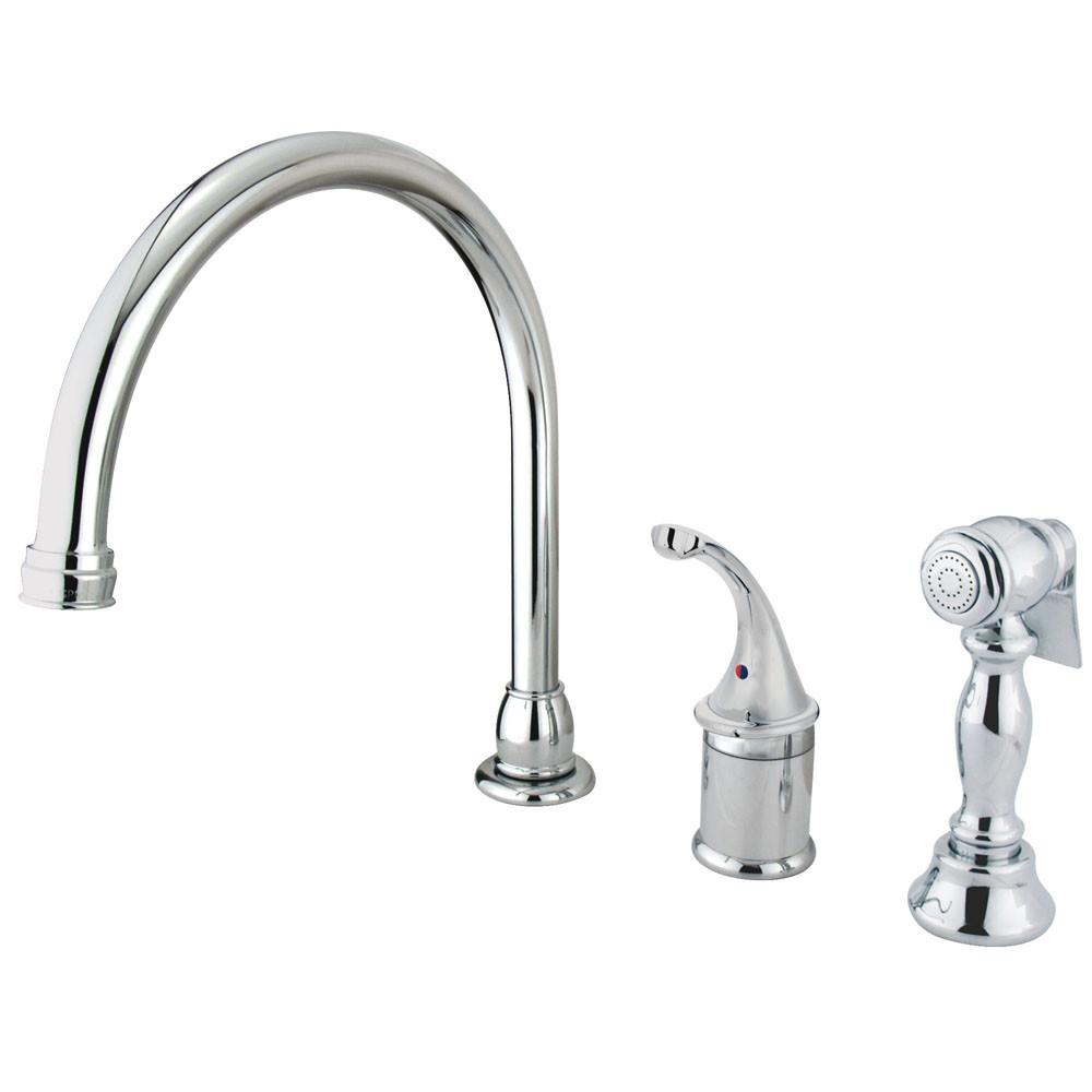 Kingston Brass Chrome Georgian kitchen faucet with brass sprayer KB3811GLBS