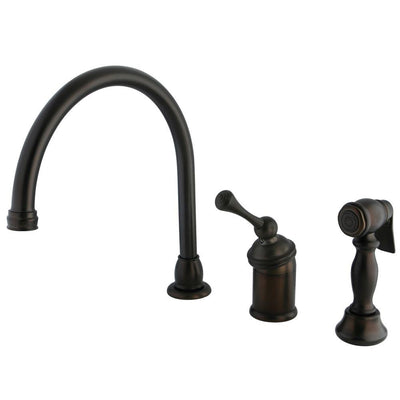 Kingston Oil Rubbed Bronze Single Handle Kitchen Faucet w Sprayer KB3815BLBS