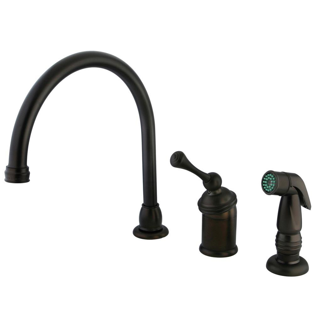 Kingston Oil Rubbed Bronze Single Handle Kitchen Faucet w side Spray KB3815BLSP
