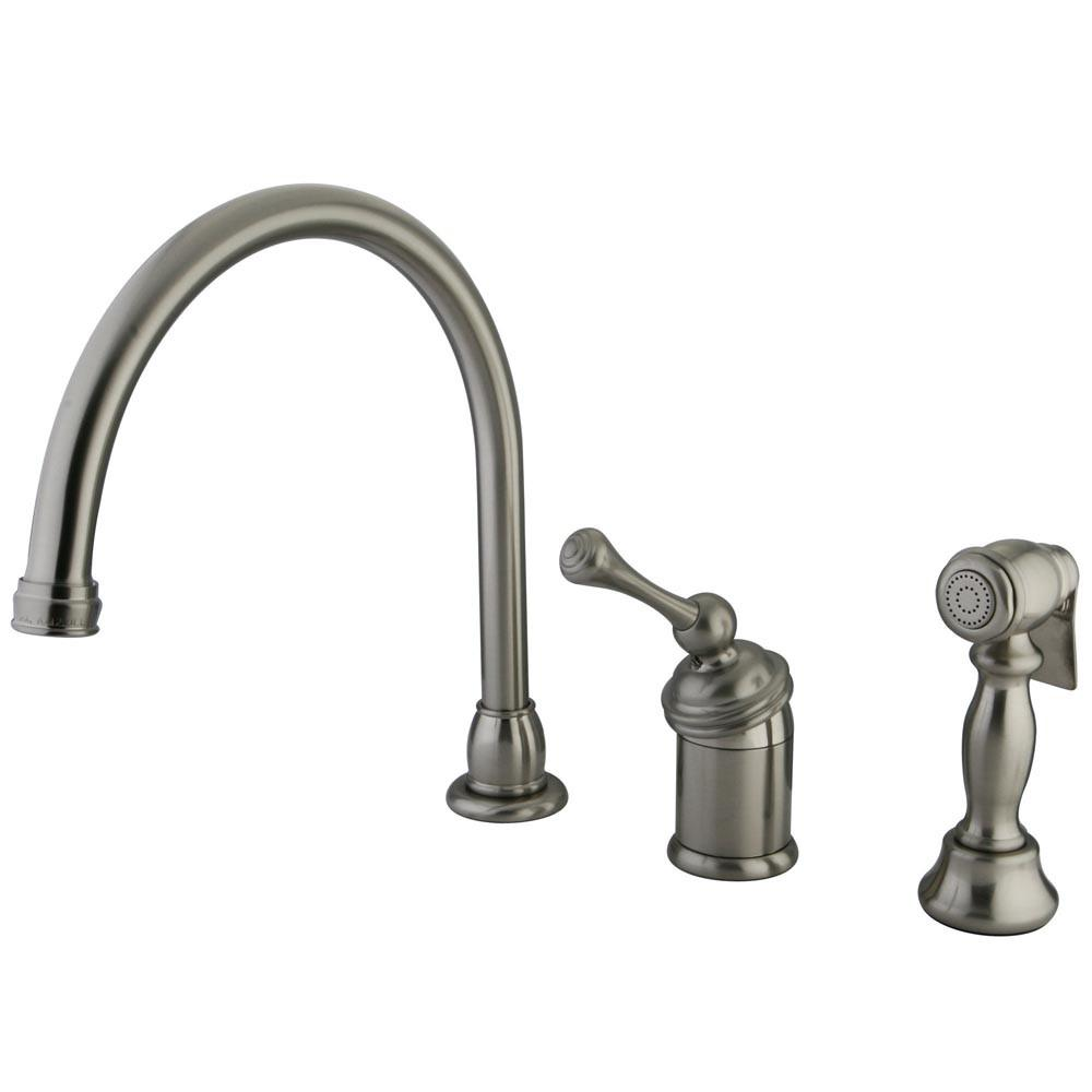 Kingston Satin Nickel Single Handle Kitchen Faucet with Brass Sprayer KB3818BLBS