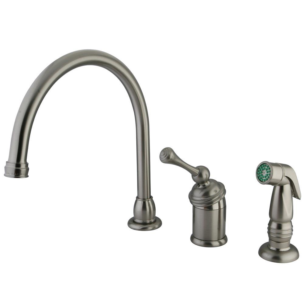 Kingston Satin Nickel Single Handle Kitchen Faucet w Chrome Sprayer KB3818BLSP
