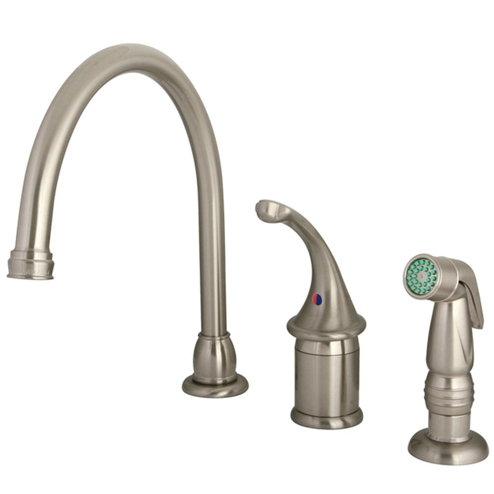 Kingston Brass Satin Nickel Georgian kitchen faucet with sprayer KB3818GLSP