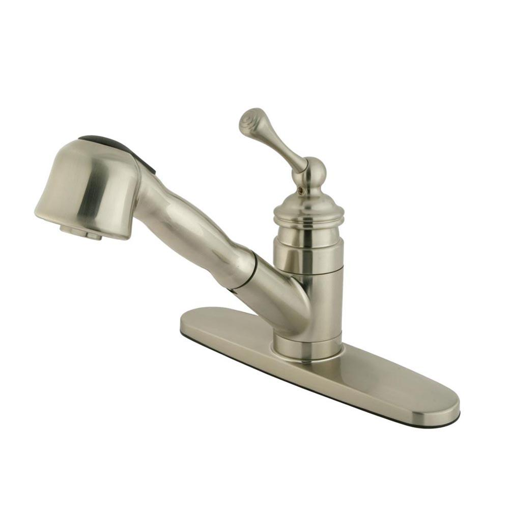"Kingston Satin Nickel Single Handle 8"" Monodeck Pull-Out Kitchen Faucet KB3898BL"