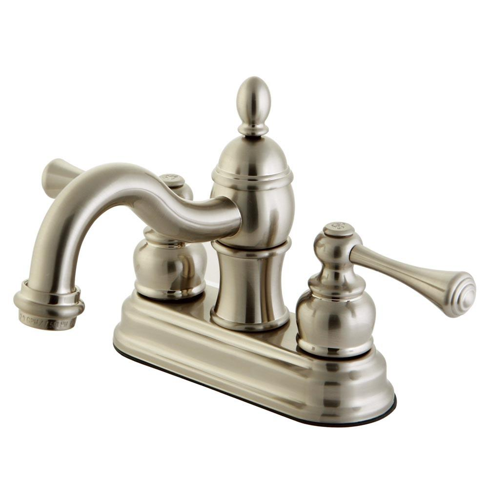 "Kingston Satin Nickel 2 Handle 4"" Centerset Bathroom Faucet with Pop-up KB3908BL"