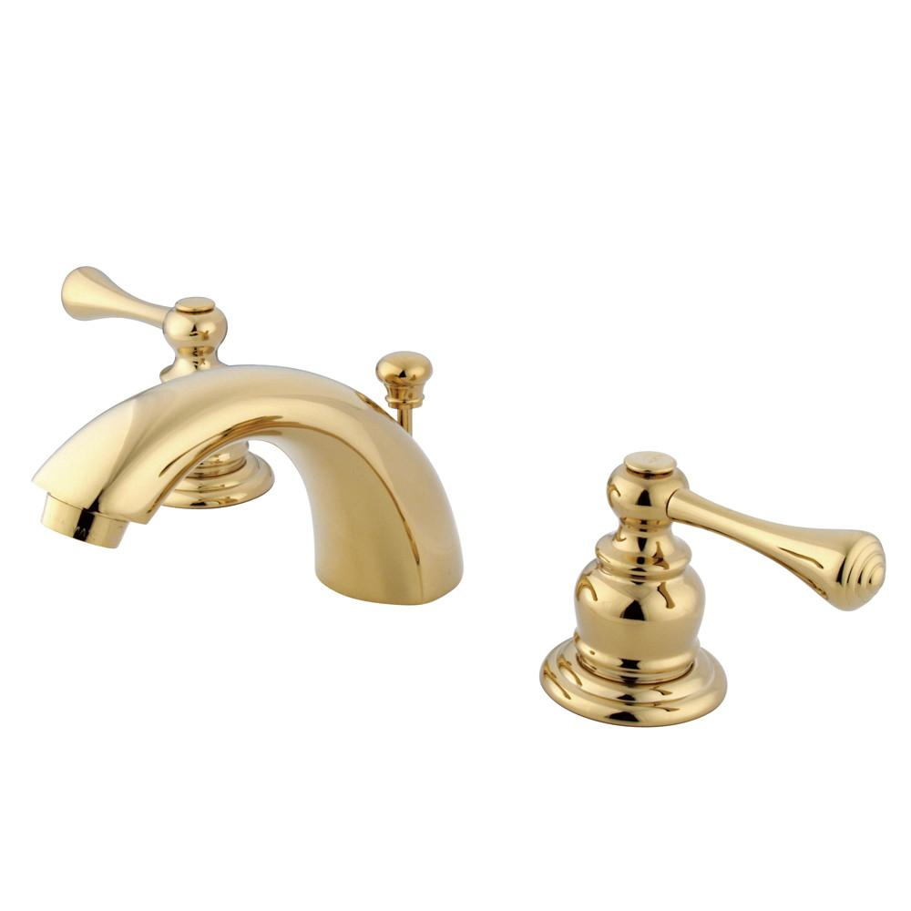 "Kingston Polished Brass 2 Hdl 4"" to 8"" Mini Widespread Bathroom Faucet KB3942BL"
