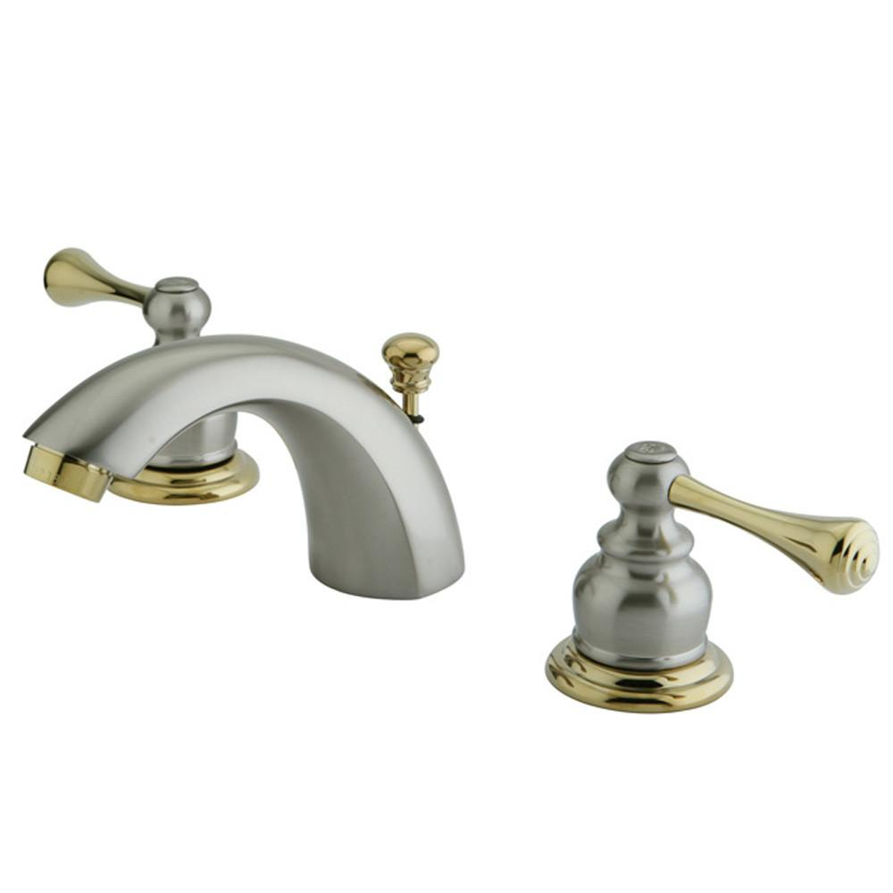 Kingston Satin Nickel/Polished Brass Mini Widespread Bathroom Faucet KB3949BL