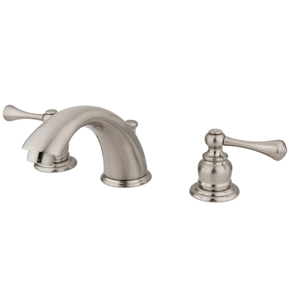 Kingston Satin Nickel 2 Handle Widespread Bathroom Faucet w Pop-up KB3978BL