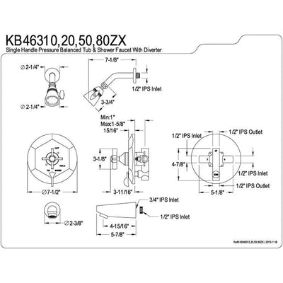 Kingston Brass KB46380ZX Tub and Shower Combination Faucet Satin Nickel