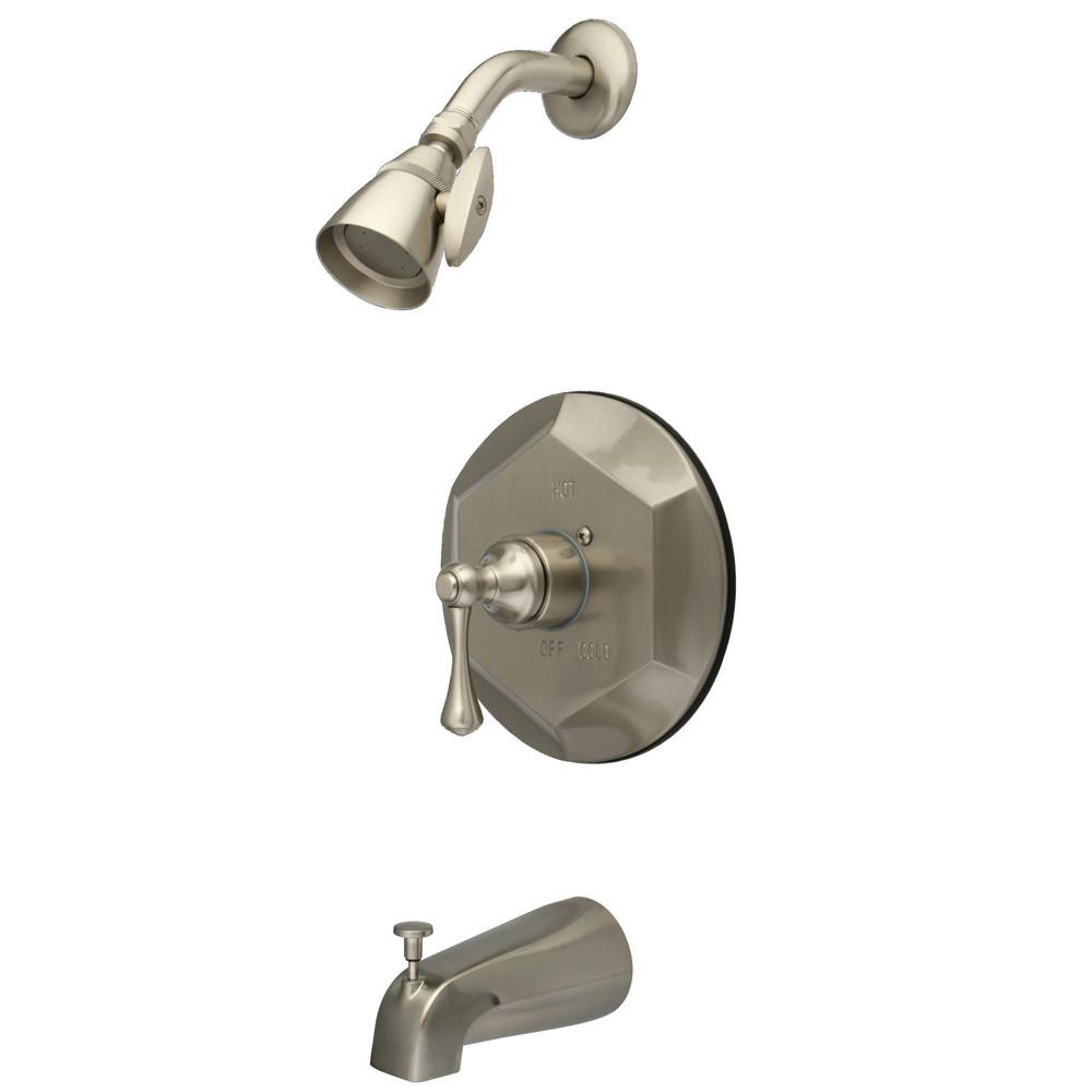 Kingston Satin Nickel Single Handle Tub and Shower Combination Faucet KB4638BL