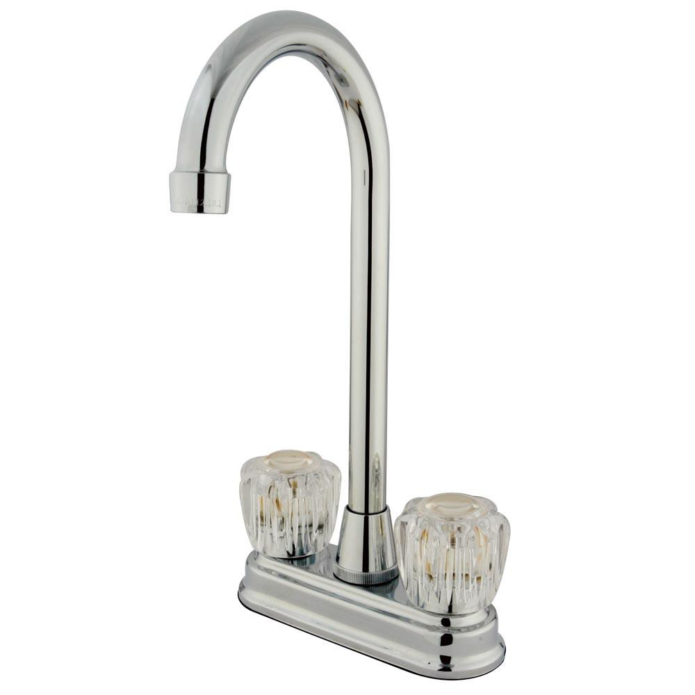 "Kingston Chrome Two Handle 4"" Centerset High-Arch Bar Prep Sink Faucet KB491AC"