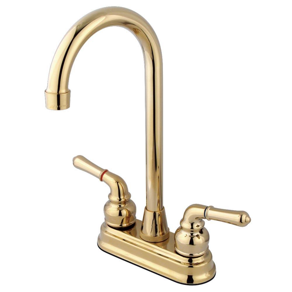"Kingston Brass Polished Brass Magellan 4"" bar / prep sink faucet KB492"