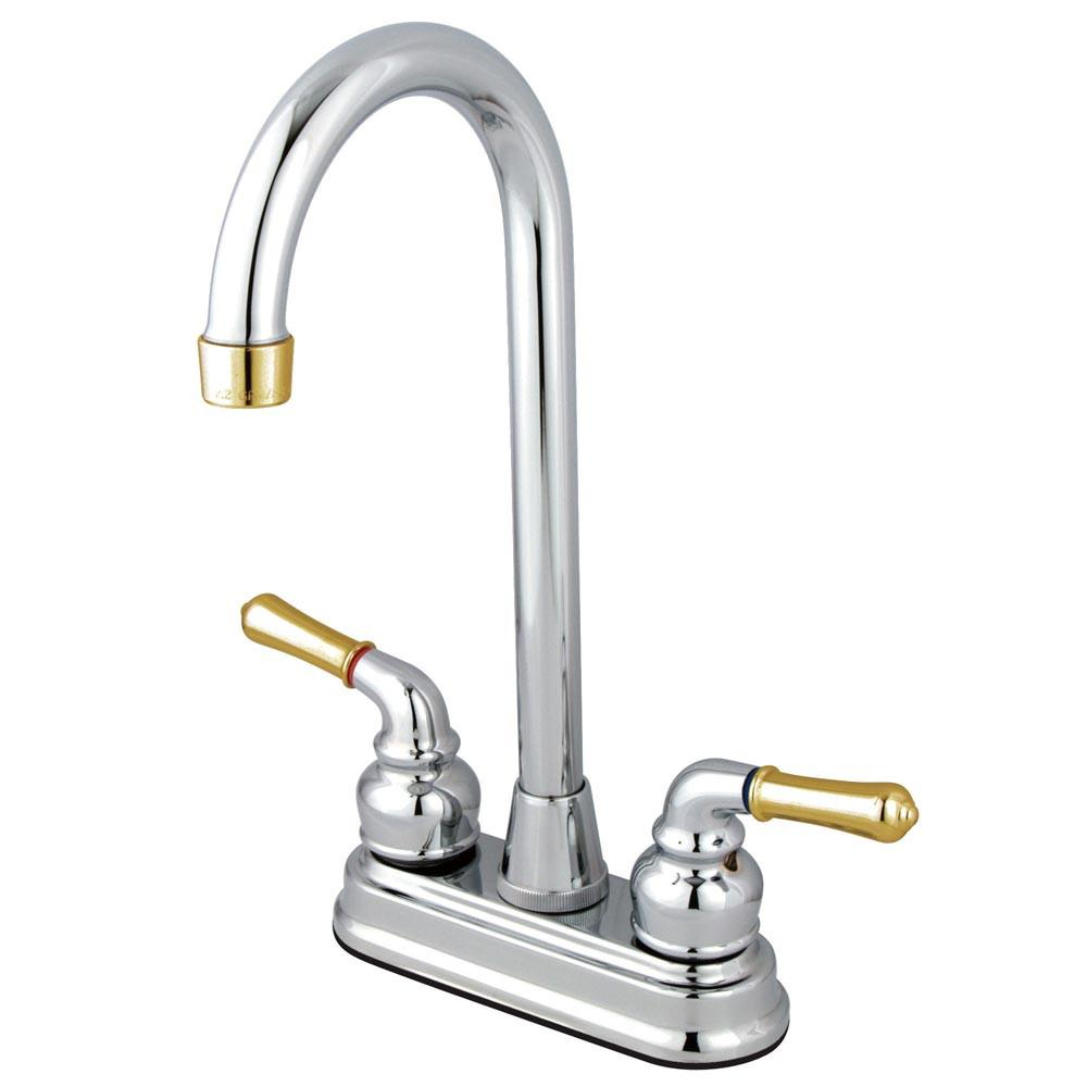 "Kingston Brass Chrome/Polished Brass Magellan 4"" bar / prep sink faucet KB494"