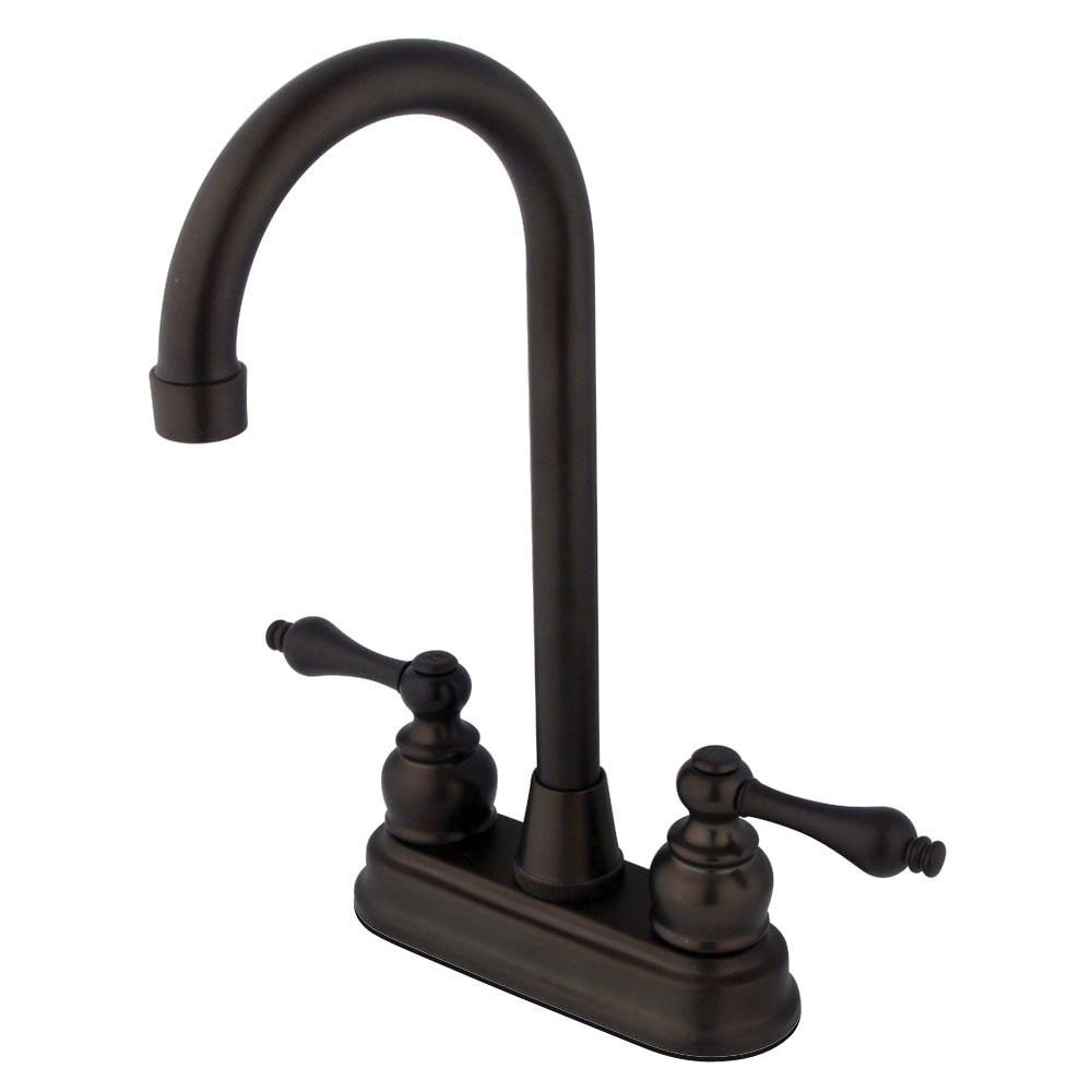"Kingston Oil Rubbed Bronze 2 Handle 4"" Centerset Hi-Arch Bar Sink Faucet KB495AL"