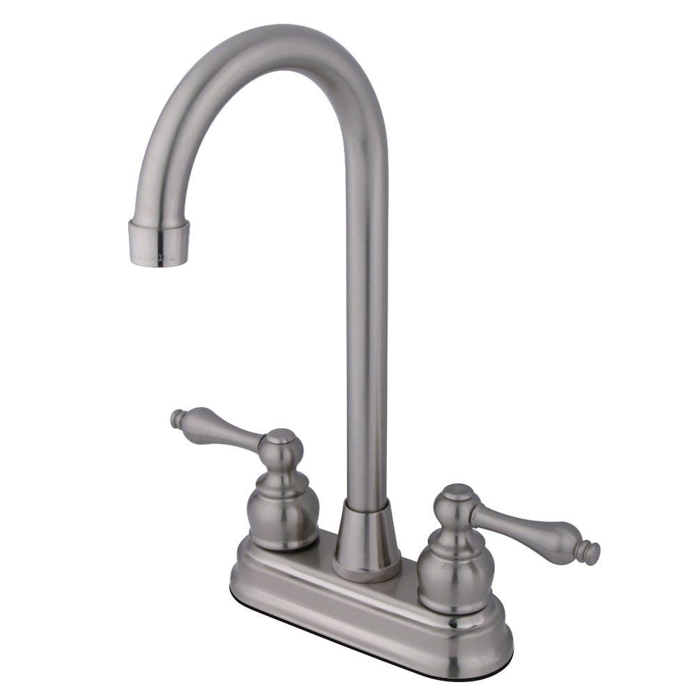 "Kingston Satin Nickel 2 Handle 4"" Centerset High-Arch Bar Sink Faucet KB498AL"