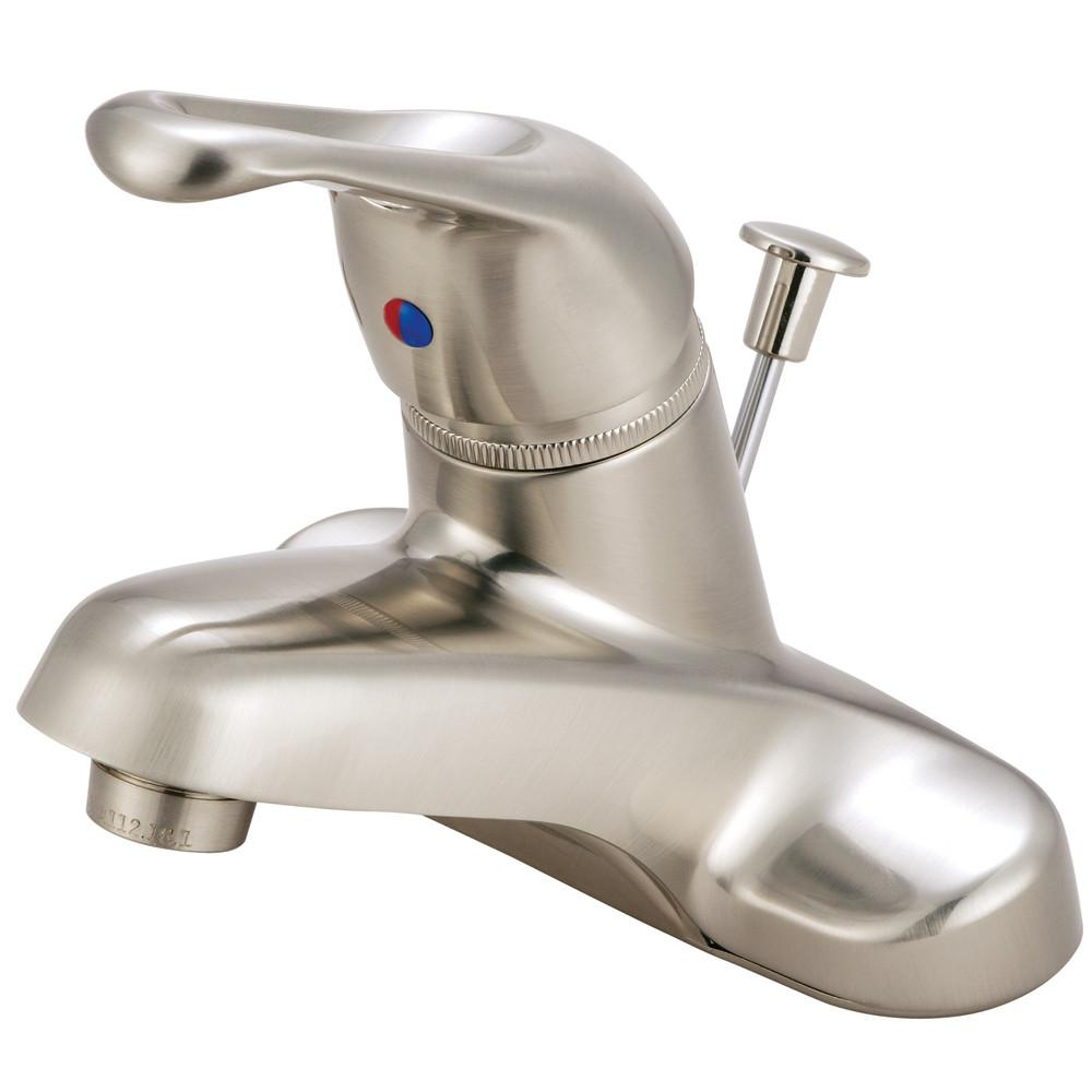 "Kingston Satin Nickel Single Handle 4"" Centerset Bathroom Faucet w Pop-up KB518"