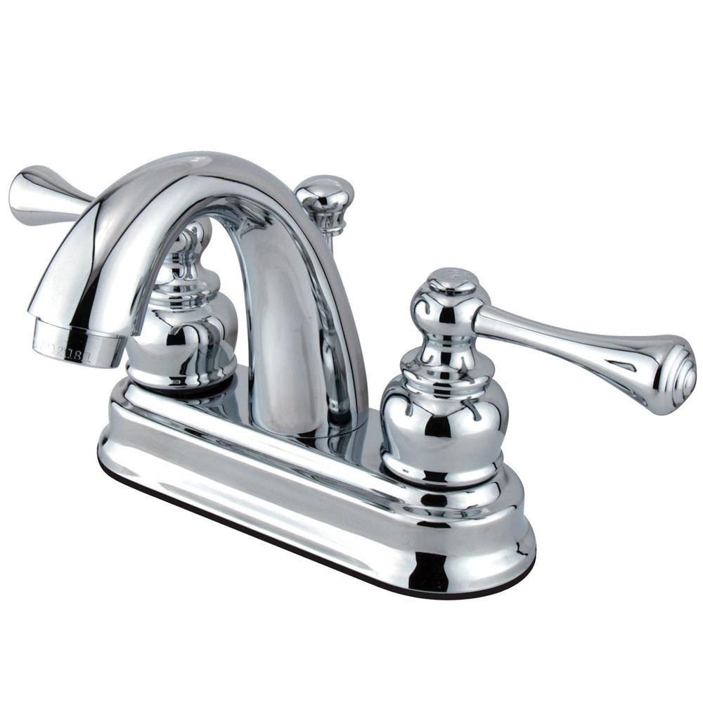 "Kingston Brass Chrome 2 Handle 4"" Centerset Bathroom Faucet with Pop-up KB5611BL"