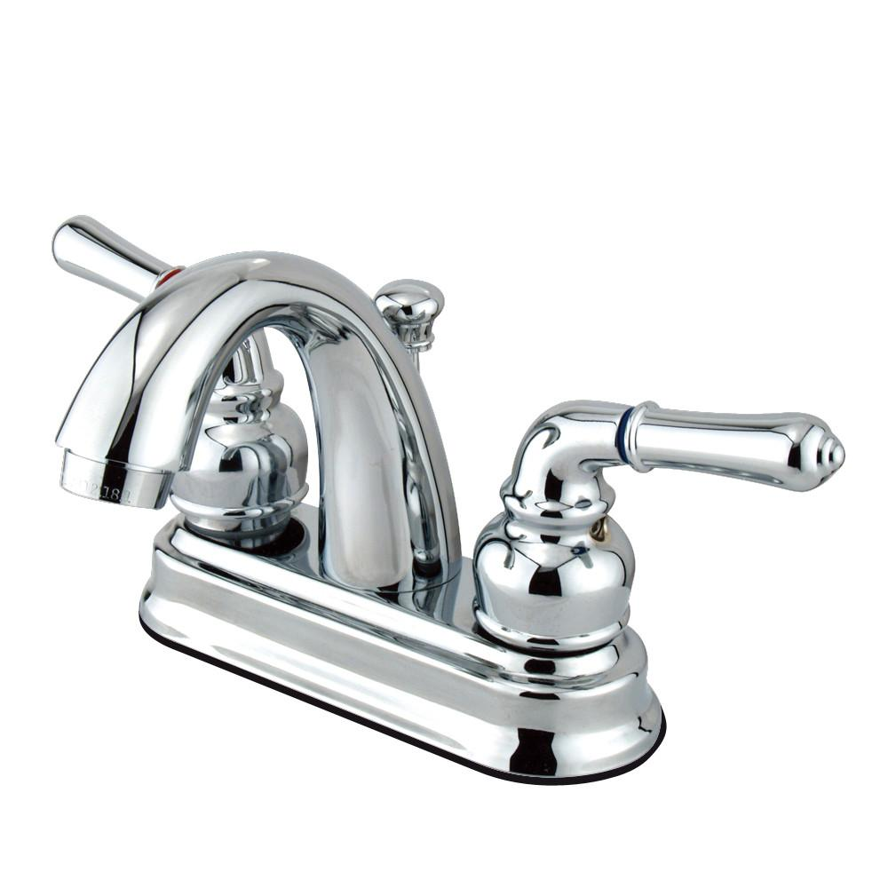 "Kingston Chrome 2 Handle 4"" Centerset Bathroom Faucet with Pop-up KB5611NML"