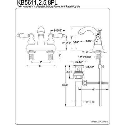 "Kingston Brass Chrome 2 Handle 4"" Centerset Bathroom Faucet with Pop-up KB5611PL"