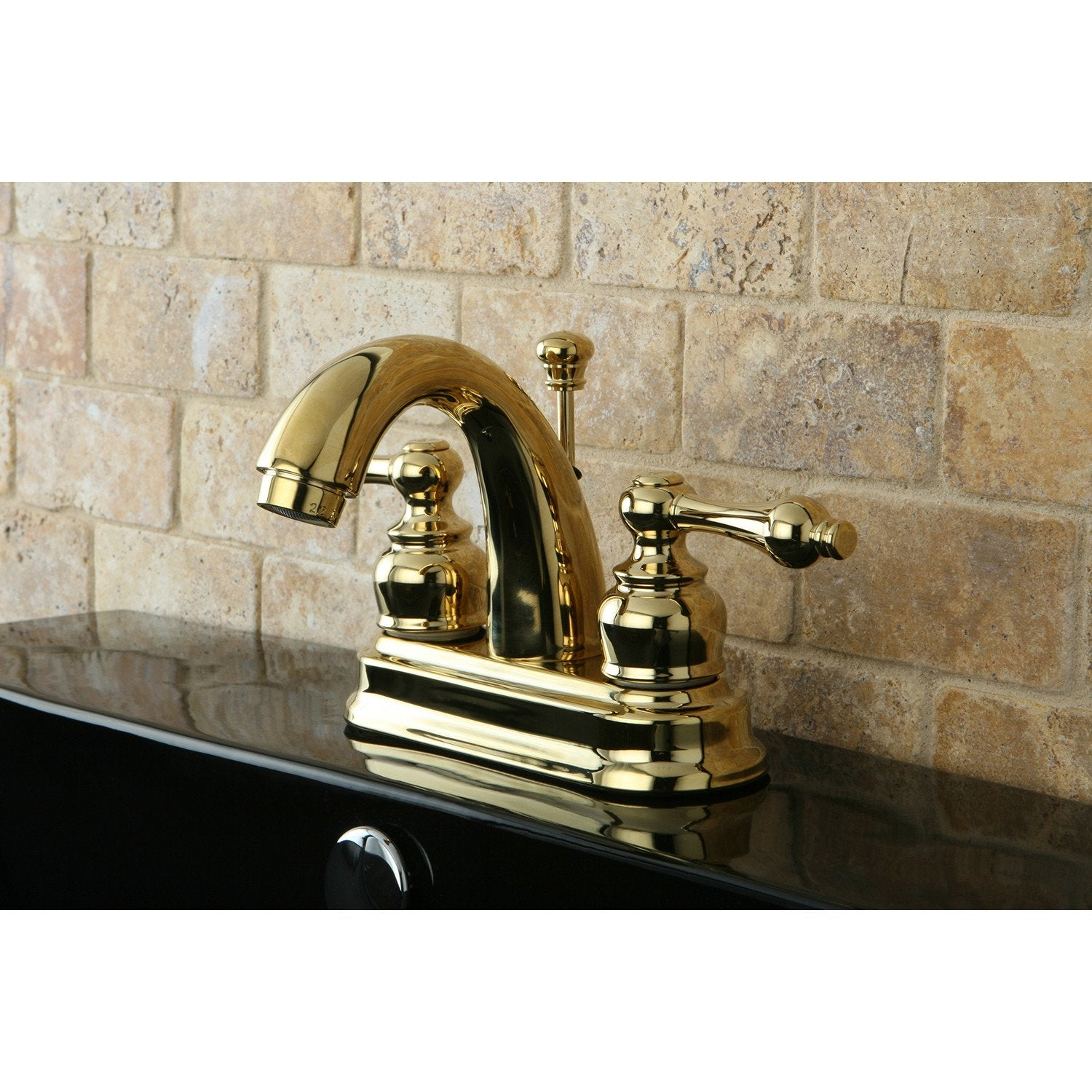 "Kingston Polished Brass 2 Handle 4"" Centerset Bathroom Faucet w Drain KB5612AL"