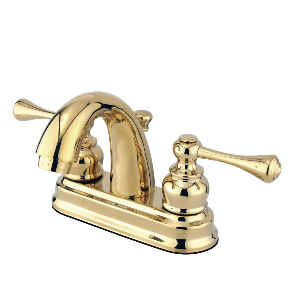 "Kingston Polished Brass 2 Handle 4"" Centerset Bathroom Faucet w Drain KB5612BL"