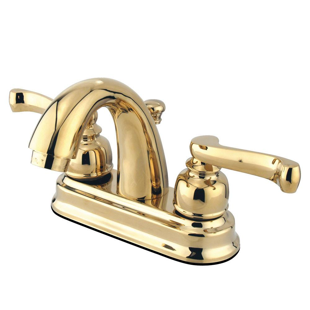 "Kingston Polished Brass 2 Handle 4"" Centerset Bathroom Faucet w Drain KB5612FL"