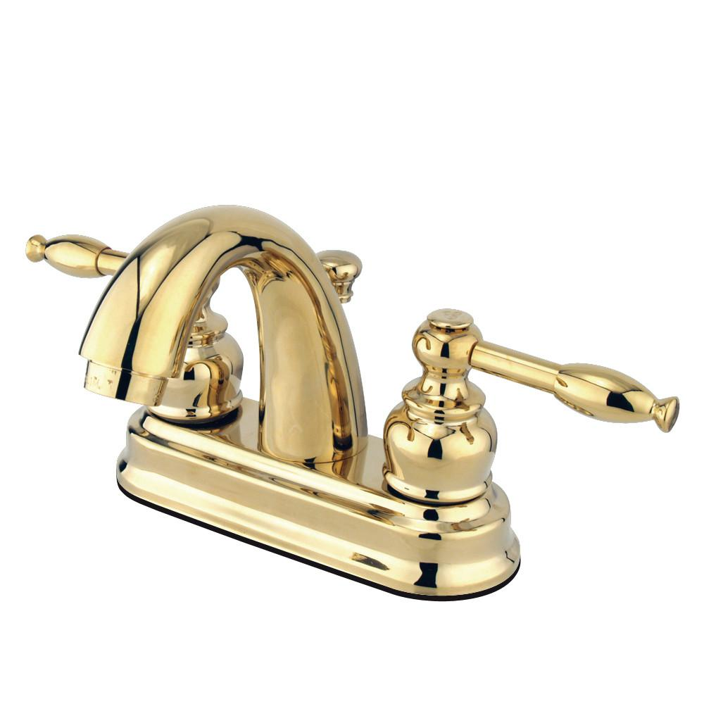 "Kingston Polished Brass 2 Handle 4"" Centerset Bathroom Faucet w Drain KB5612KL"