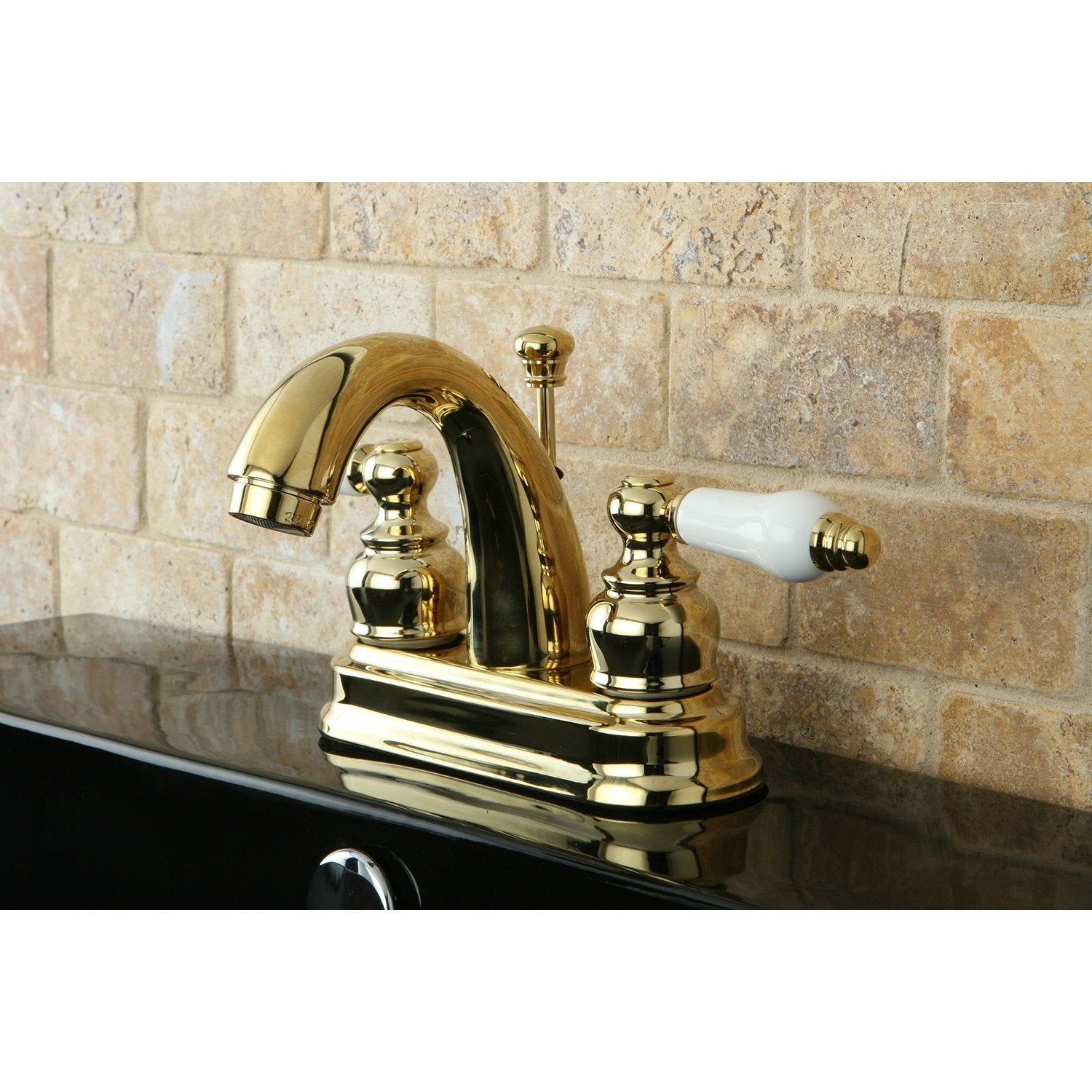 "Kingston Polished Brass 2 Handle 4"" Centerset Bathroom Faucet w Drain KB5612PL"