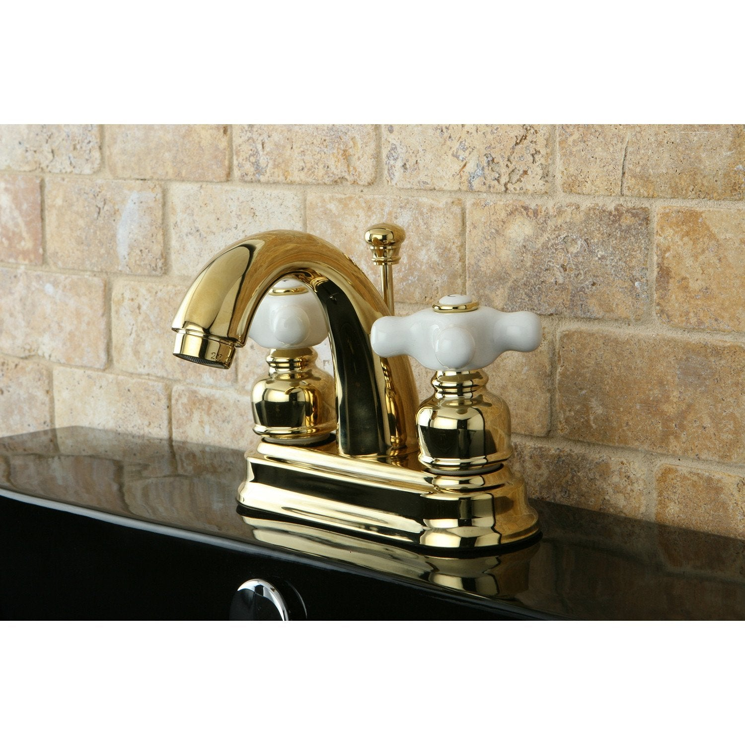 "Kingston Polished Brass 2 Handle 4"" Centerset Bathroom Faucet w Drain KB5612PX"