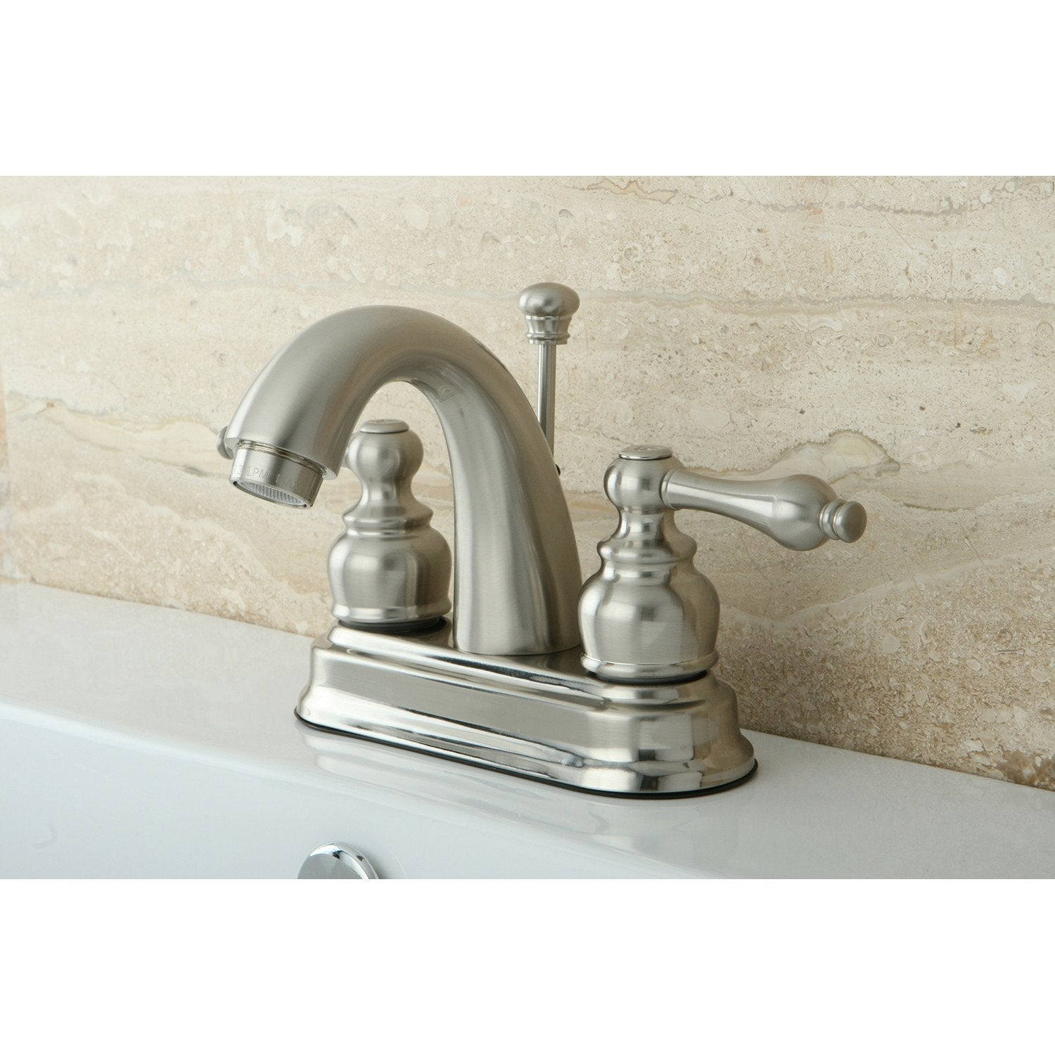 "Kingston Satin Nickel 2 Handle 4"" Centerset Bathroom Faucet with Pop-up KB5618AL"