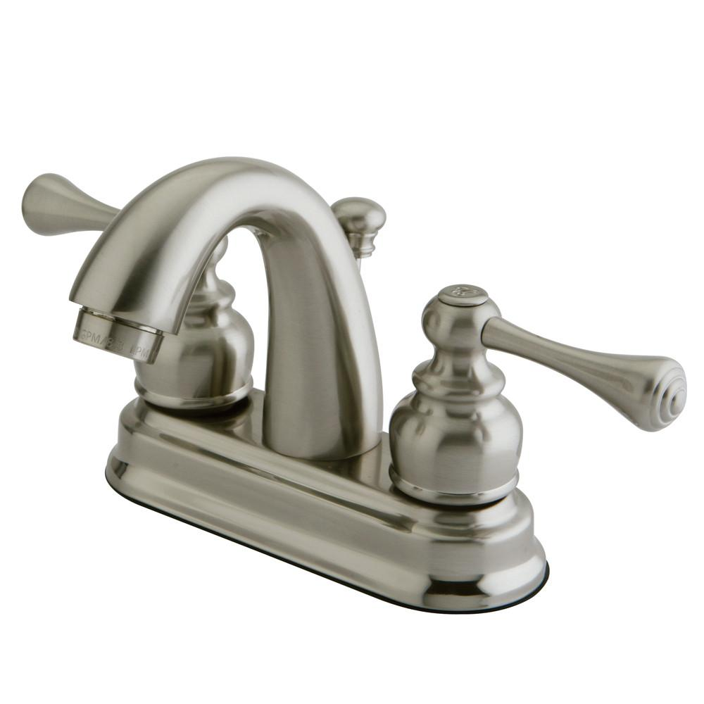 "Kingston Satin Nickel 2 Handle 4"" Centerset Bathroom Faucet with Pop-up KB5618BL"