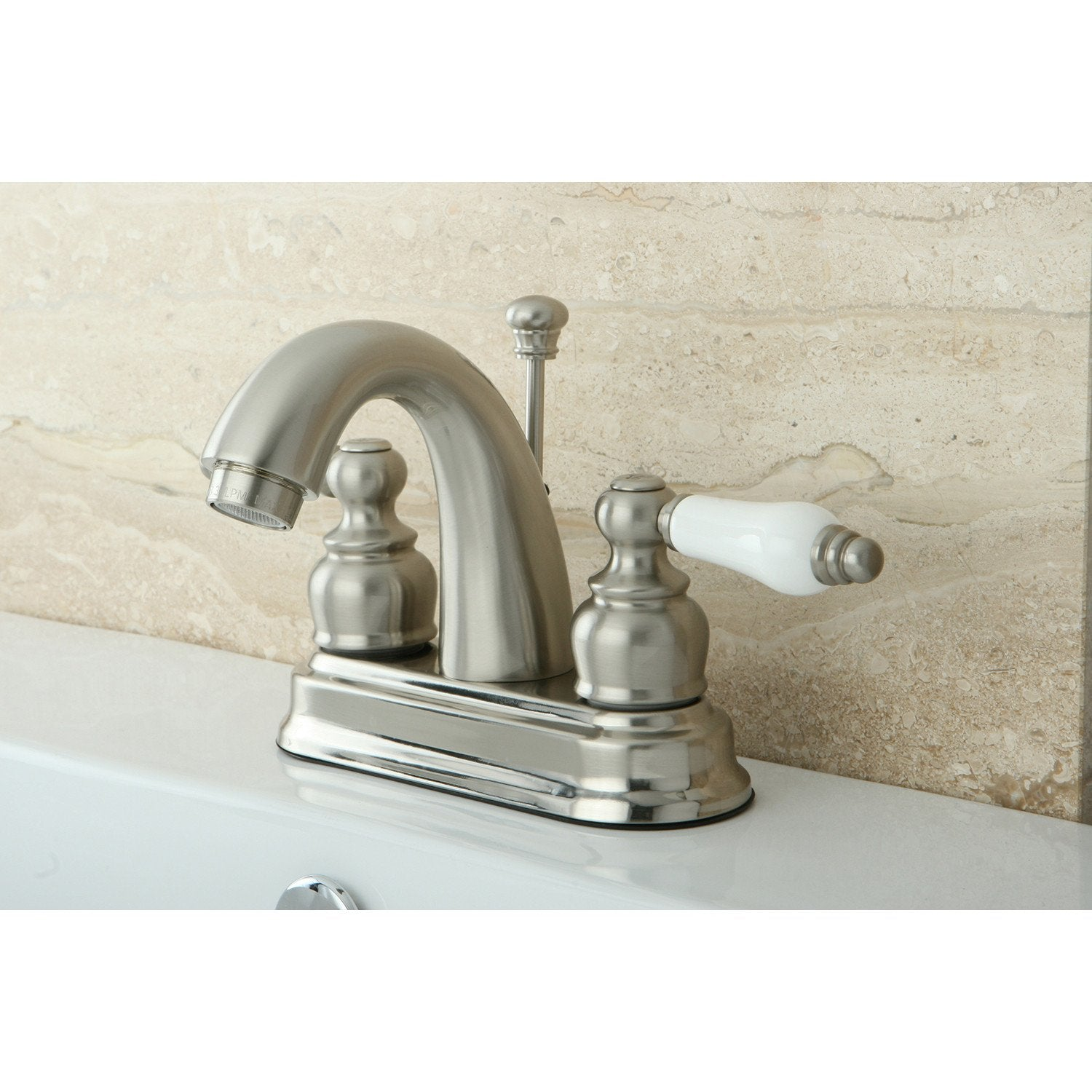 "Kingston Satin Nickel 2 Handle 4"" Centerset Bathroom Faucet with Pop-up KB5618PL"