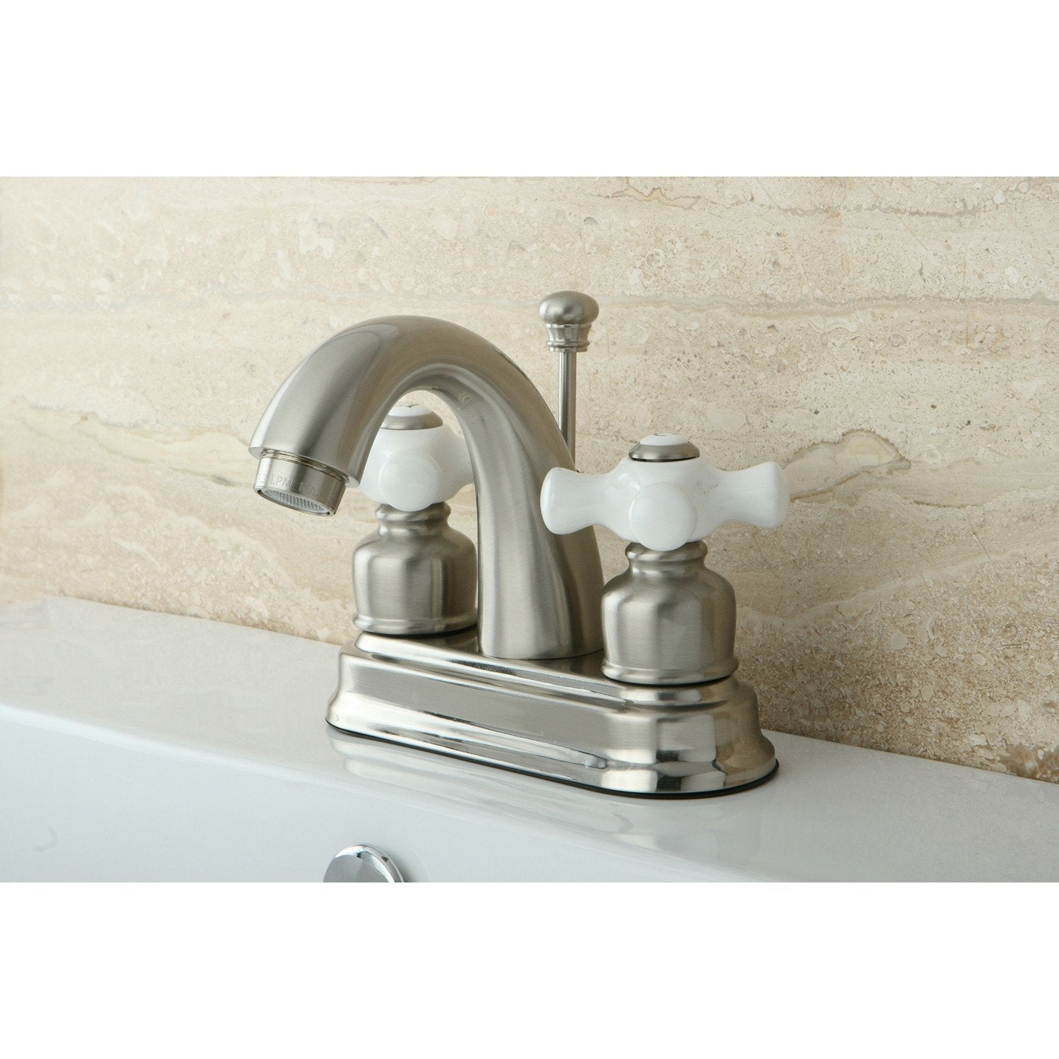 "Kingston Satin Nickel 2 Handle 4"" Centerset Bathroom Faucet with Pop-up KB5618PX"