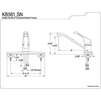Kingston Brass Satin Nickel Single Handle Kitchen Faucet KB561SN