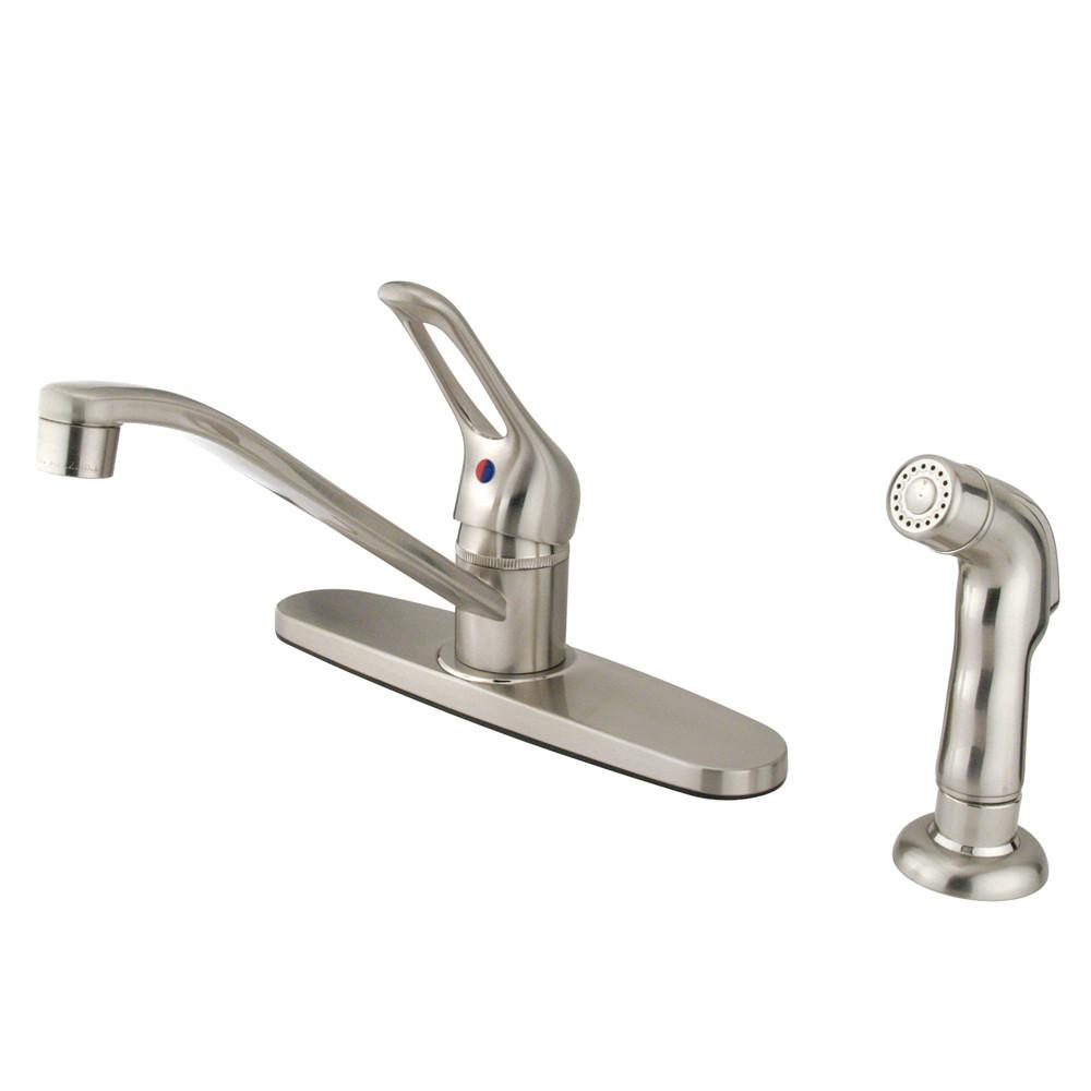 Kingston Brass Chrome Single Handle Kitchen Faucet With Sprayer KB562SNSP