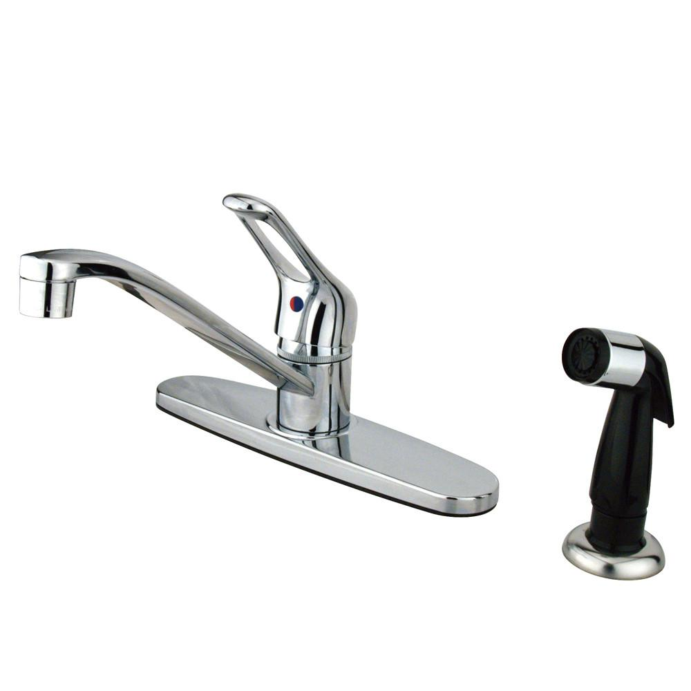 Kingston Brass Chrome Single Handle Kitchen Faucet With Black Sprayer KB562