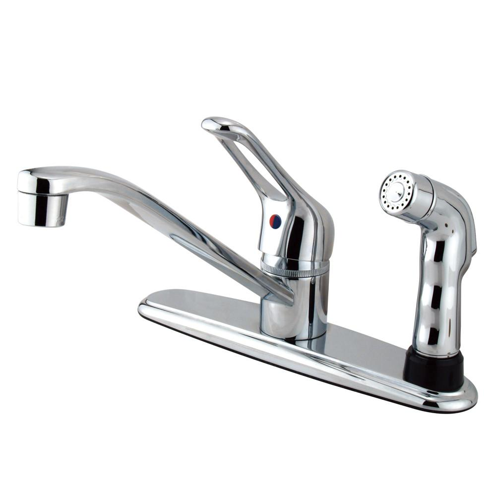 Kingston Brass Chrome Single Handle Kitchen Faucet With Chrome Sprayer KB563SP