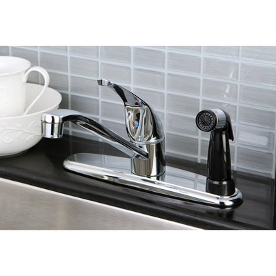 Kingston Brass Chrome Single Handle Kitchen Faucet With Deck Sprayer KB5730