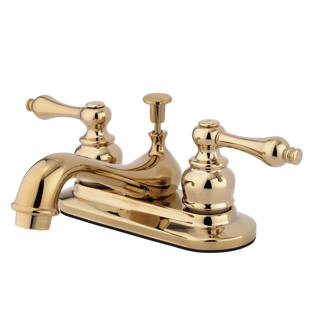 "Kingston Polished Brass 2 Handle 4"" Centerset Bathroom Faucet w Drain KB602AL"