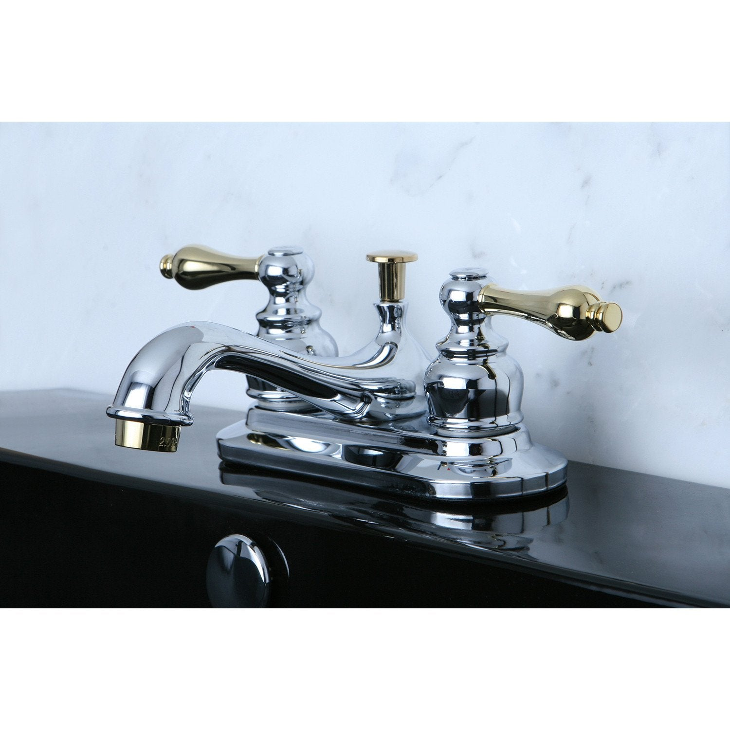 "Kingston Chrome/Polished Brass 4"" Centerset Bathroom Faucet w Pop-up KB604AL"
