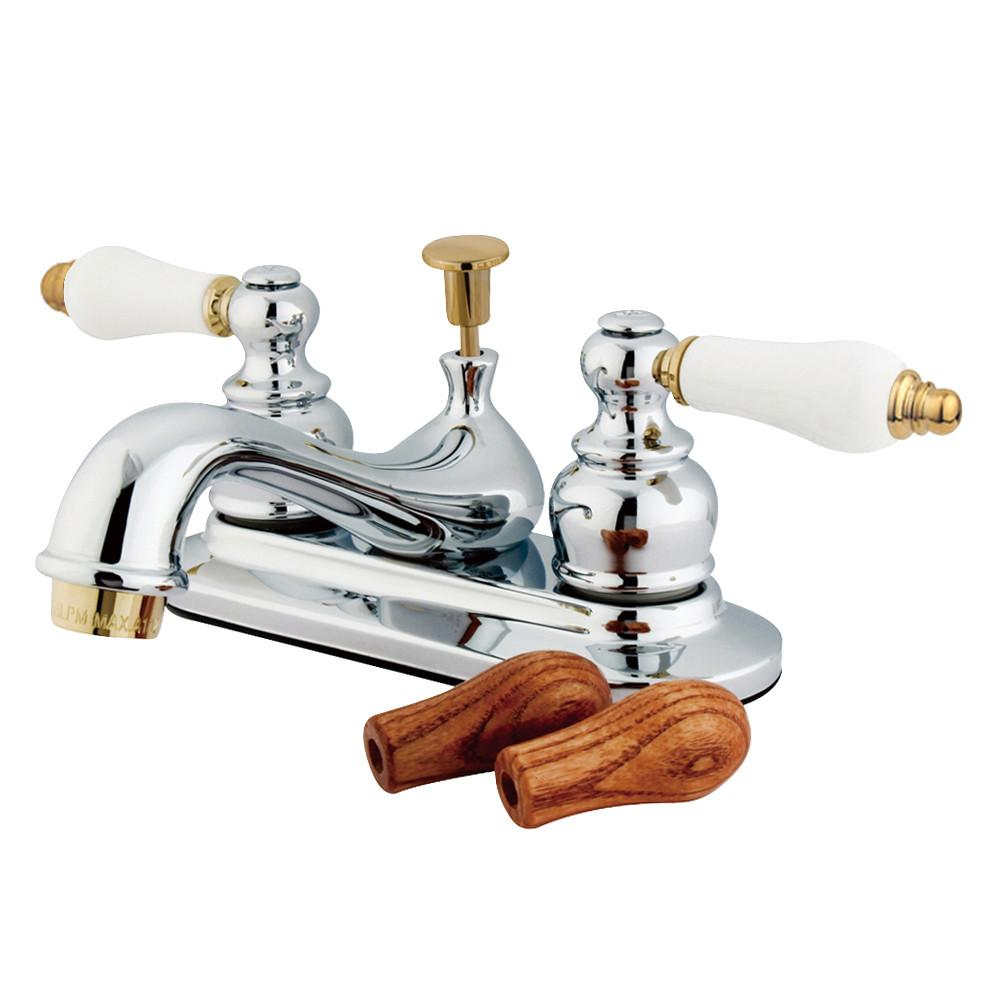 "Kingston Chrome / Polished Brass 4"" Centerset Bathroom Faucet w Pop-up KB604B"