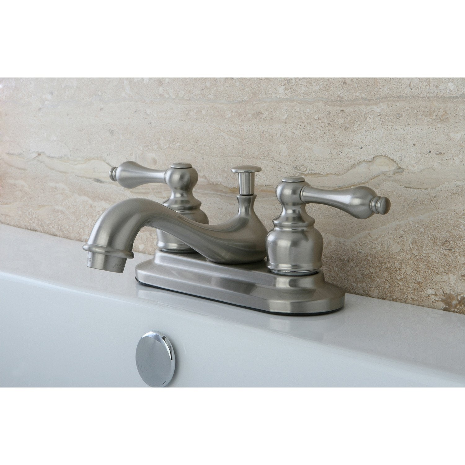 "Kingston Satin Nickel 2 Handle 4"" Centerset Bathroom Faucet with Pop-up KB608AL"