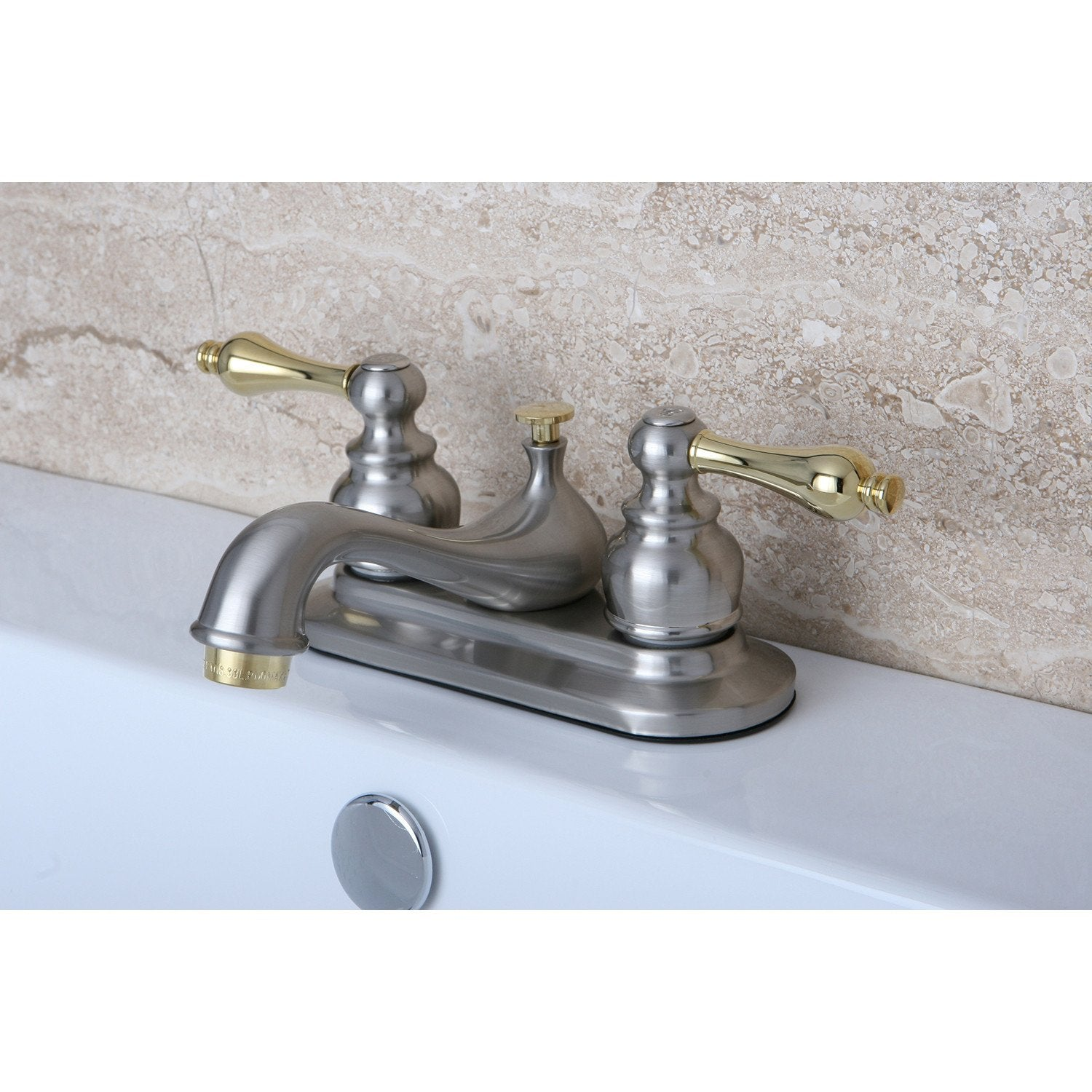 Kingston Satin Nickel / Polished Brass Centerset Bathroom Faucet KB609AL