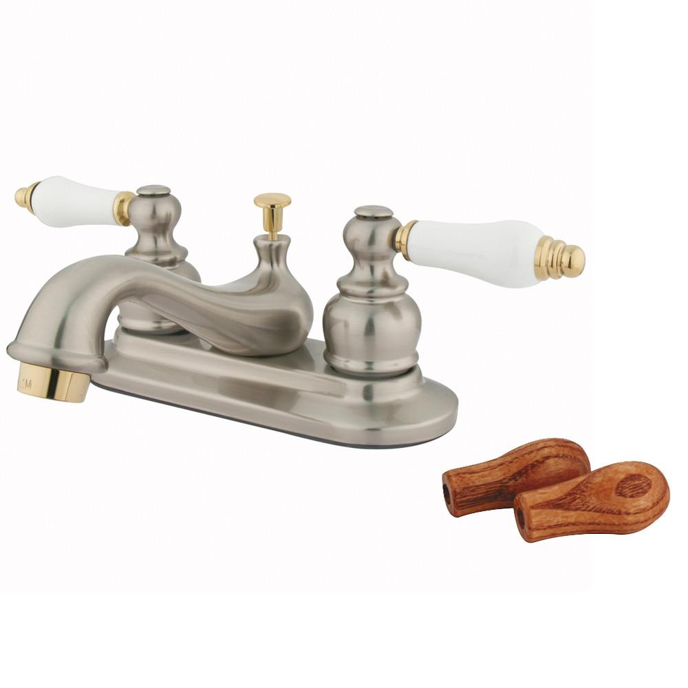 Kingston Satin Nickel / Polished Brass Centerset Bathroom Faucet w Pop-up KB609B
