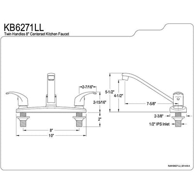 "Kingston Brass Chrome Double Handle 8"" Centerset Kitchen Faucet KB6271LL"