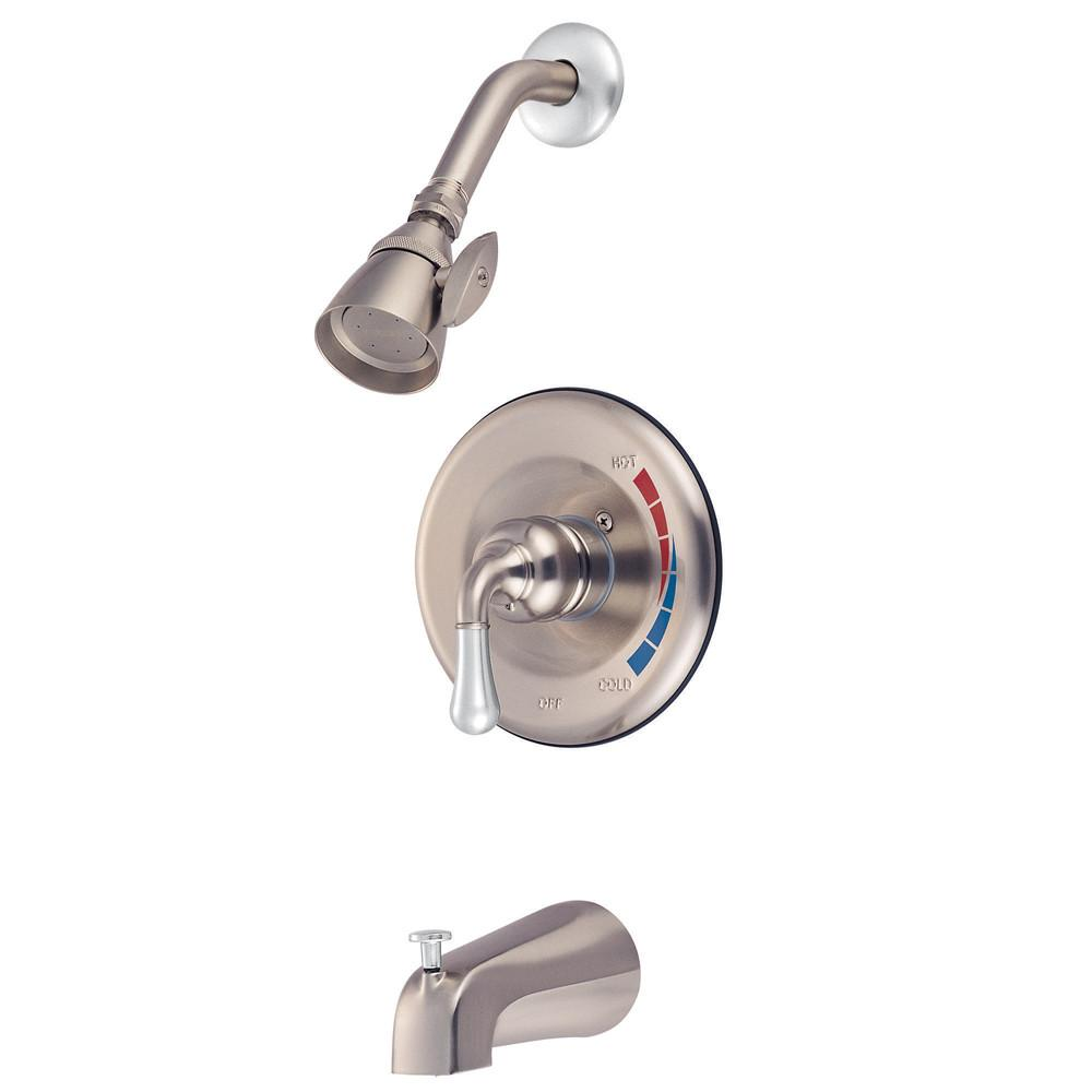 Kingston Satin Nickel/Chrome Magellan tub and shower combination faucet KB637