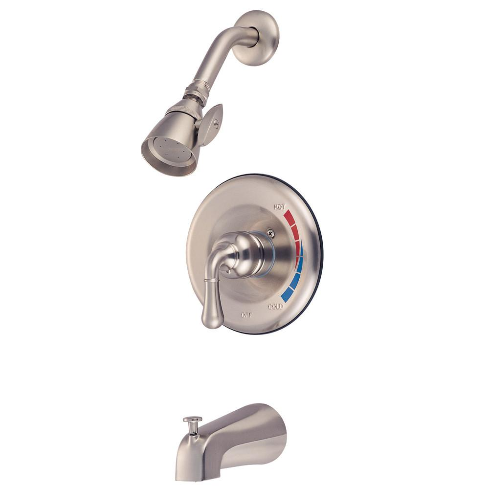 Kingston Satin Nickel Magellan 1 handle tub and shower combination faucet KB638